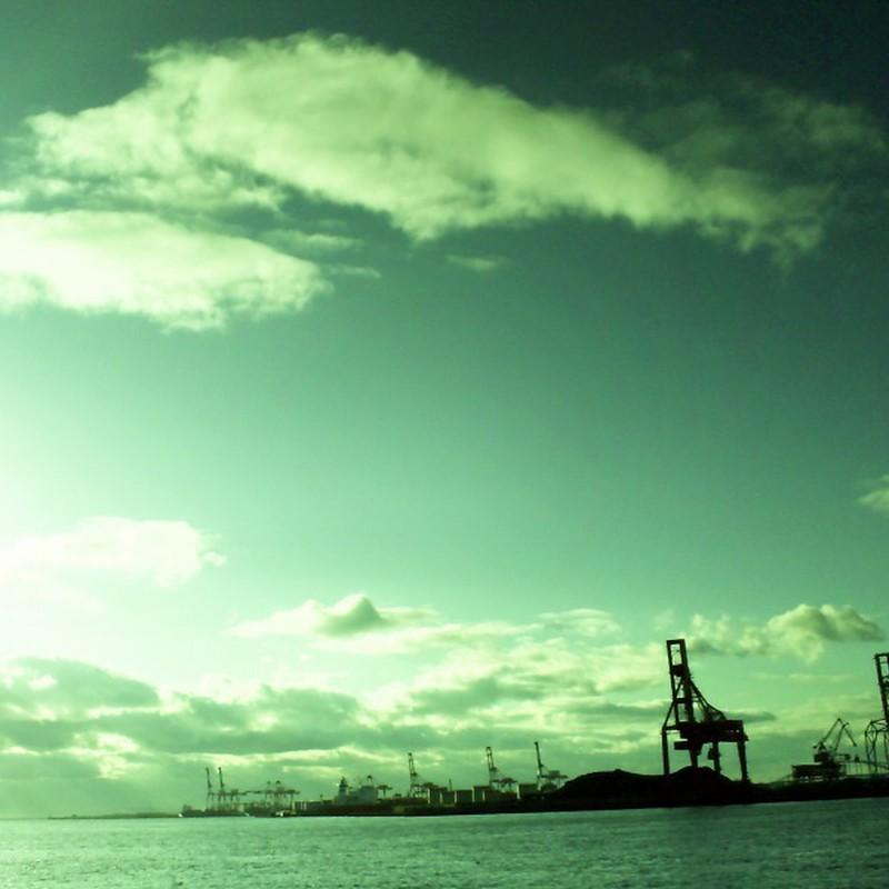 海辺の鉄骨キリン