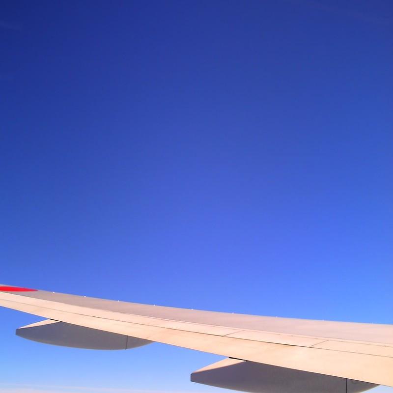 翼と飛行機雲