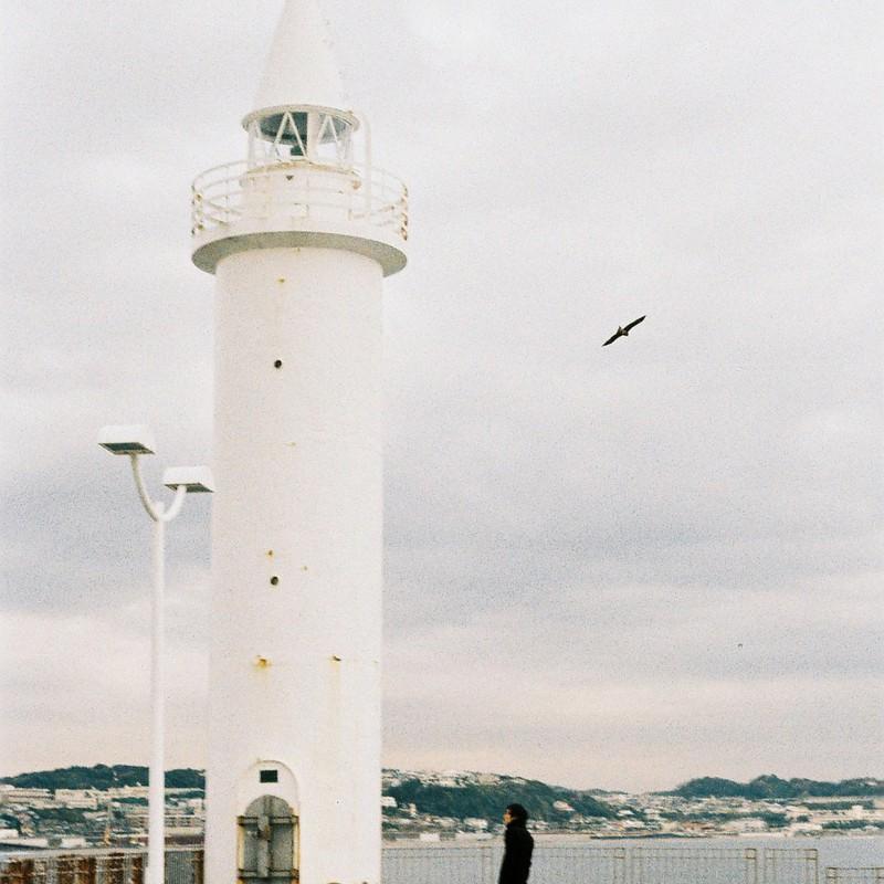灯台トンビ灰色の空