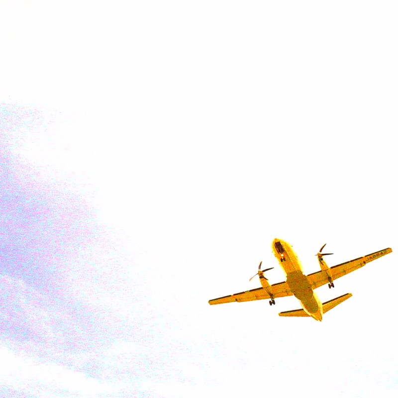 a golden aeroplane in sunny summer day