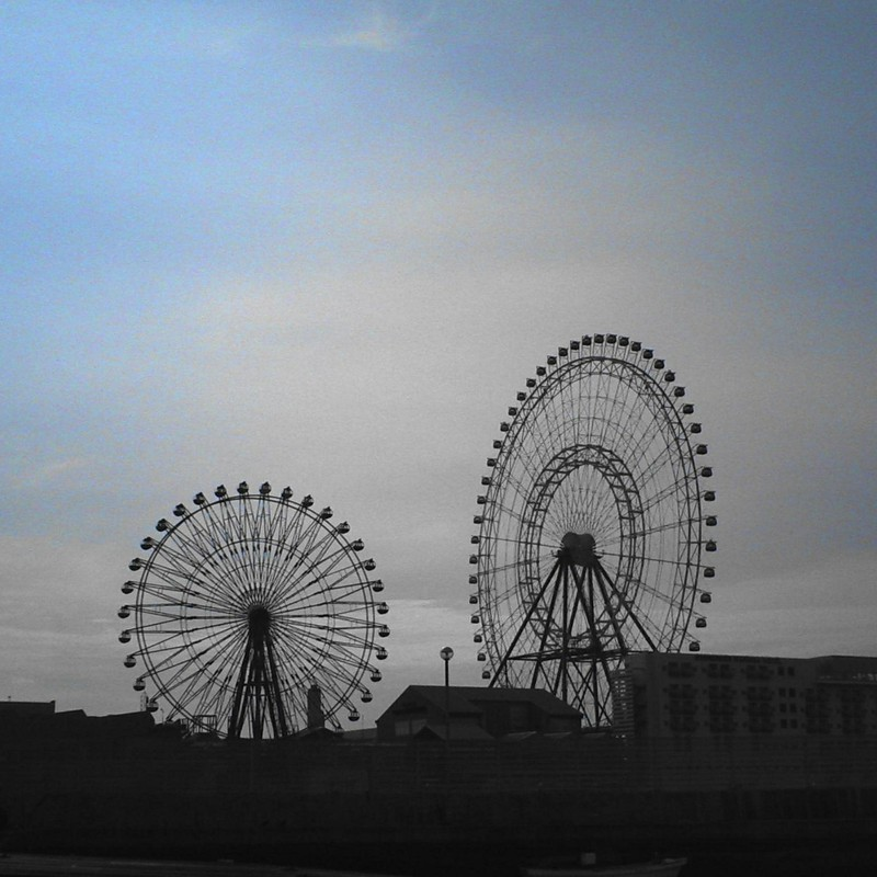 two ferris wheels