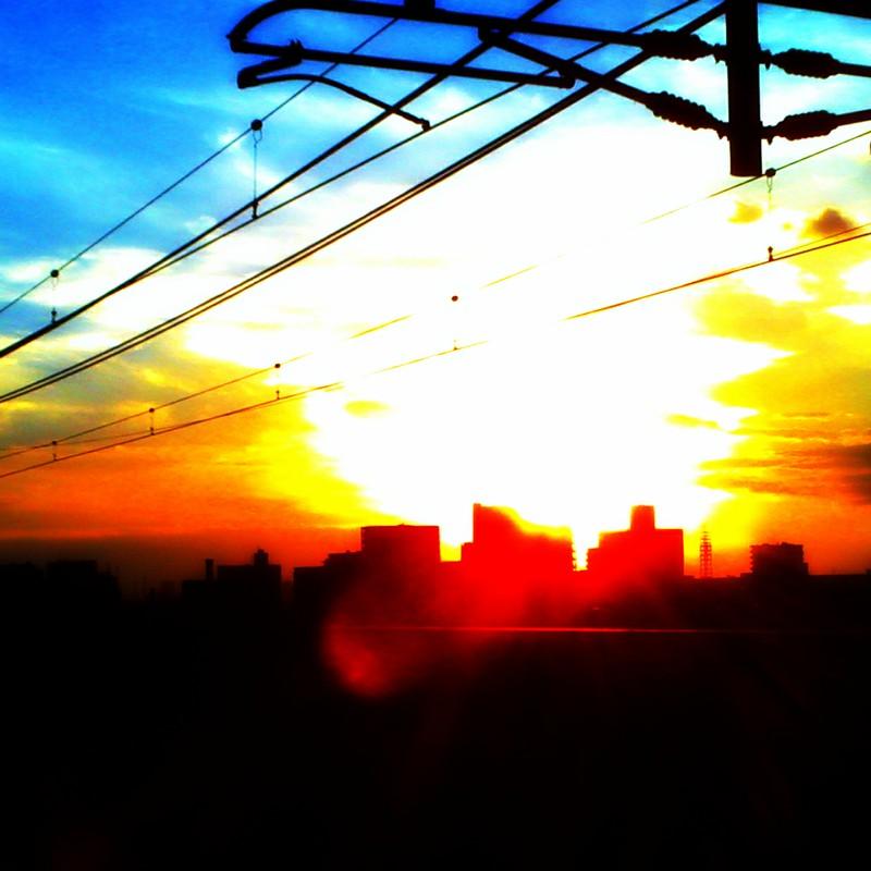地元の駅から見た夕焼け