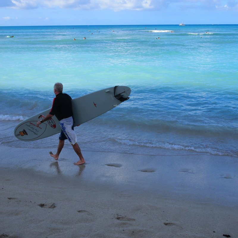 Ride on a surfboard