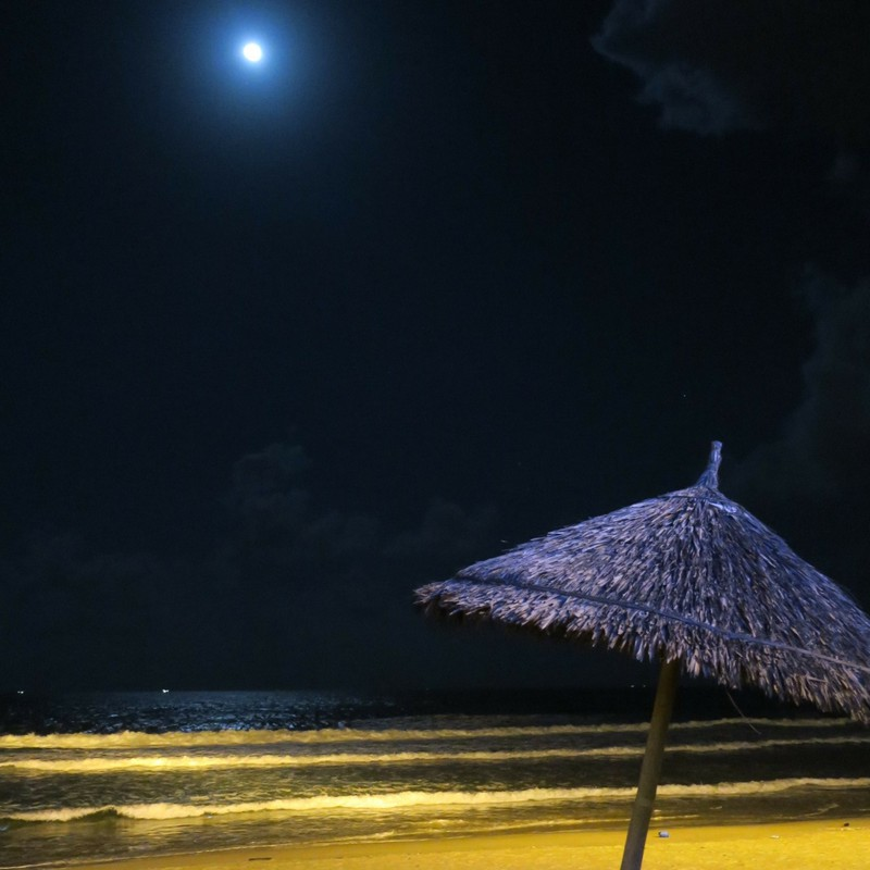 The night beach under the super moon...