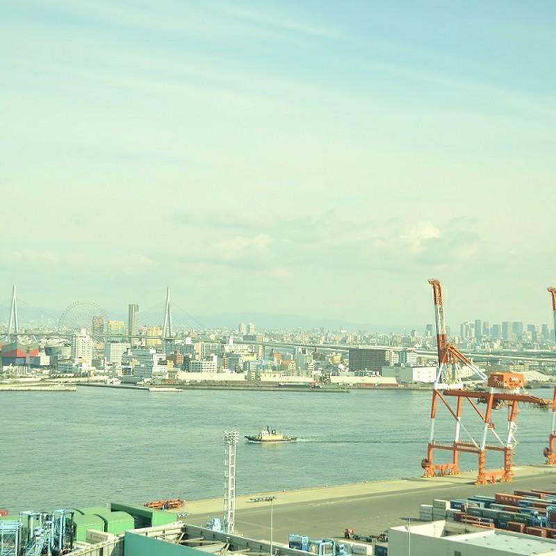 大阪湾に臨むきりん。