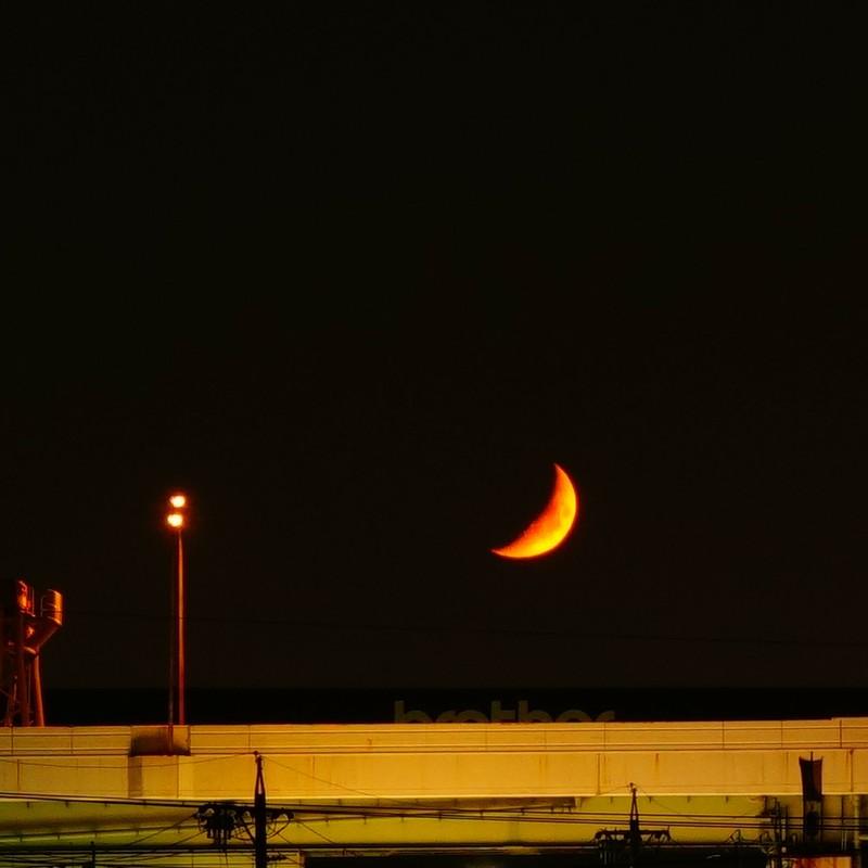 高速道路に浮かぶお月さん