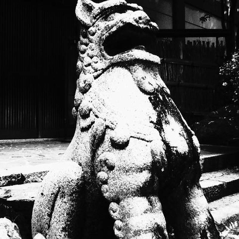 大あくびの狛犬