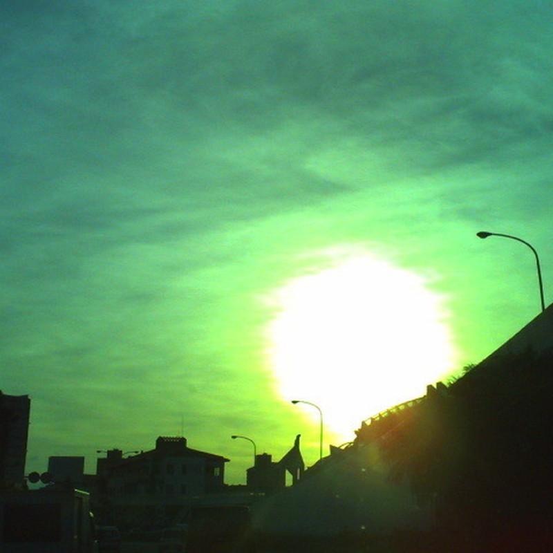 朝日を見て