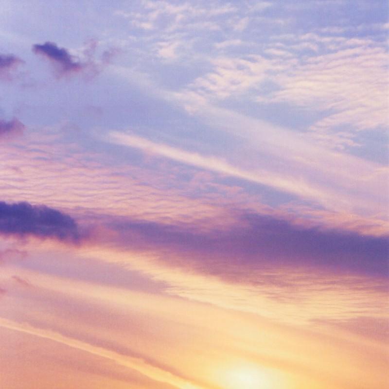 滲む夕陽。